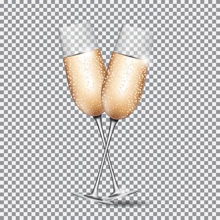 Glass of Champagne on Transparent Background Vector Illustration