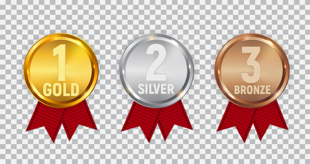 Champion Gold, Silver and Bronze Medal with Red Ribbon. Icon Sign of First, Second  and Third Place Isolated on Transparent Background. Vector Illustration