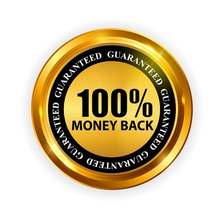 Gold Label 100% Money back Template. Vector Illustration