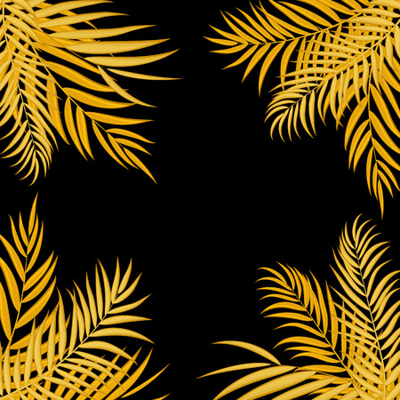 Beautiful palm tree leaf silhouette background vector illustration.