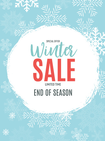 End of Winter Sale Background, Discount Coupon Template. Vector Illustration.