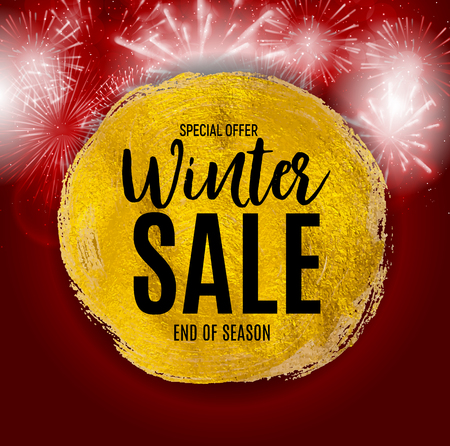 End of Winter Sale Background, Discount Coupon Template. Vector Illustration  イラスト・ベクター素材