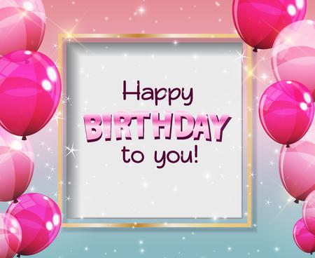 Van de de Ballonsbanner van de kleuren Glanzende Gelukkige Verjaardag Vectorillustratie Als achtergrond EPS10