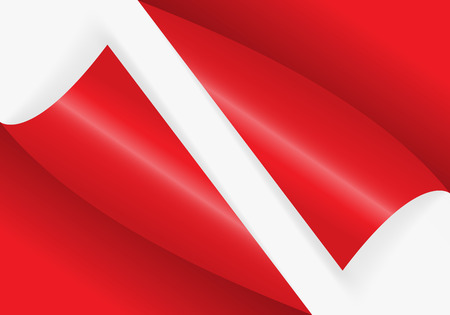 Pattern of bent corner for free filling of red color. Vector Illustration. Vectores