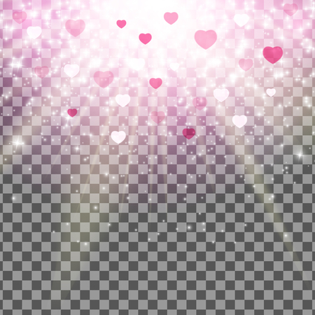 Valentines Day Love and Feelings Heart Bokeh Shiny Background with Transparent Effect.