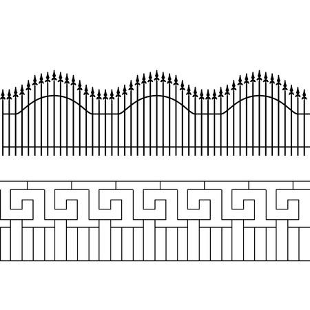 Silhouette de clôture décorative. Escrime de territoire. Illustration vectorielle
