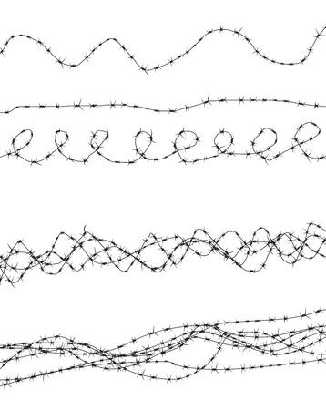 Silhouette di grave ostacolo. Recinzione in filo spinato. Illustrazione vettoriale EPS10 Archivio Fotografico - 93468582
