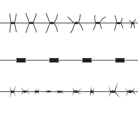 Silhouette of severe obstacle. Barbed wire fencing. Vector Illustration. EPS10