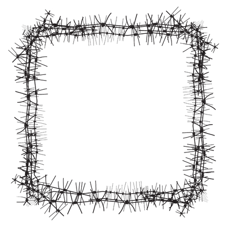 Silhouette of severe obstacle. Barbed wire fencing in the form of frame. Vector Illustration. Stock Photo