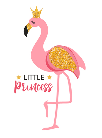 Cute Little Princess Abstract  Background with Pink Flamingo Vector Illustration Çizim