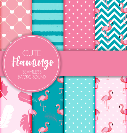 Cute retro seamless flamingo pattern collection set background vector illustration.