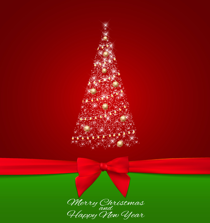 Abstract Beauty Christmas and New Year Background with christmas tree and red ribbon. Vector Illustration