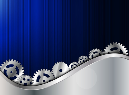 Abstract Metal Background with Gear Vector Illustration