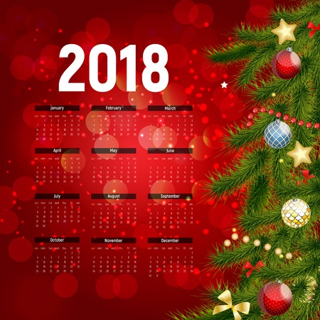 2018 New Year Calendar  with christmas decors Vector Illustration