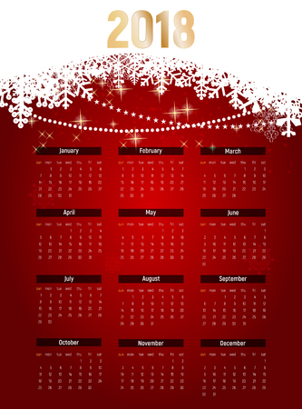 2018 New Year Calendar Vector Illustration Illustration