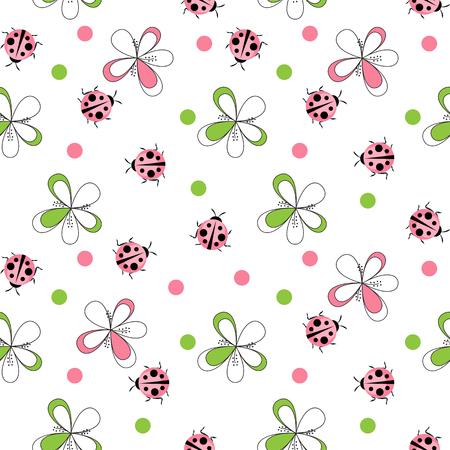 かわいいてっという虫シームレスパターン背景ベクトルイラスト
