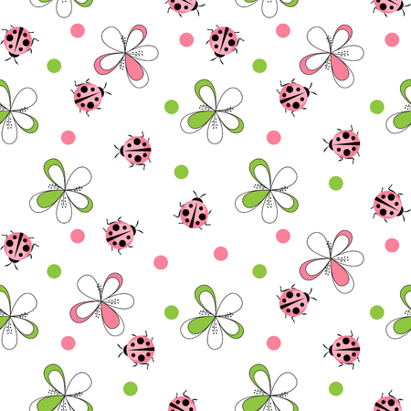 Cute Ladybug Seamless Pattern Background Vector Illustration 矢量图像