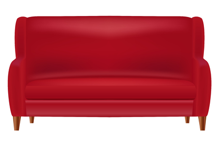 Realistic Red Sofa  Front View Isolated on White Background Vector Illustration