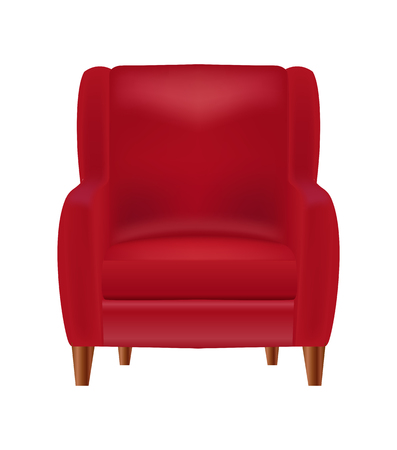 Realistic Red Armchair  Front View Isolated on White Background Vector Illustration