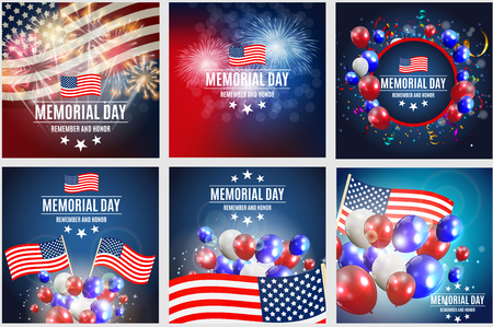 Memorial Day Background Template Vector Illustration Collection Set Ilustrace