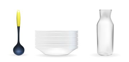 Set of Realistic 3D model of a deep white dish, ladle, glass jar.
