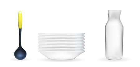 Set of Realistic 3D model of a deep white dish, ladle, glass jar.