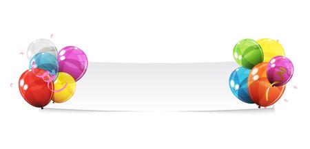 couleur glossy ballons fond bannière illustration vectorielle
