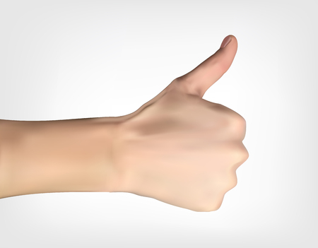 Realistic 3D Silhouette of hand with raised thumb designating all is well. Vector Illustration