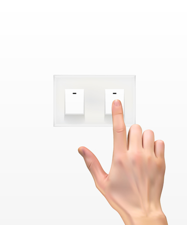 Realistic 3D Silhouette of  hand with light switch Stock Illustratie
