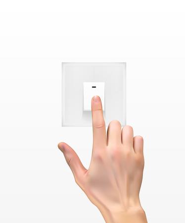 전등 스위치 벡터 일러스트와 함께 손의 현실적인 3D 실루엣 스톡 콘텐츠 - 97358938