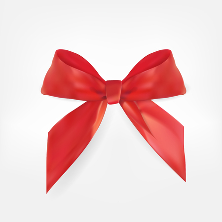 Decorative red bow. 3D Realistic Vector Illustration