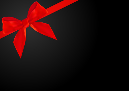 Decorative red bow with red ribbon on Black Background. 3D Realistic Vector Illustration