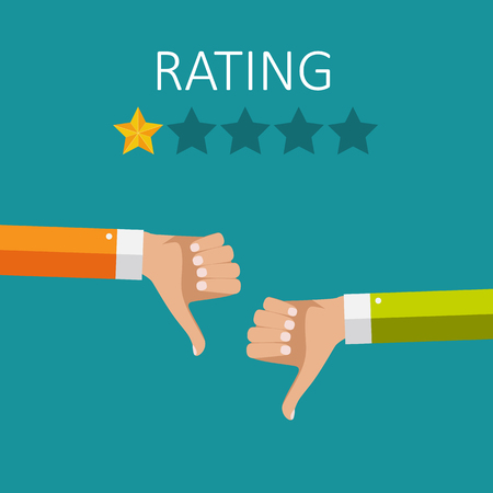 Flat Design Hand with Star Rating.  Evaluation System and Positive Review Sign. Vector Illustration