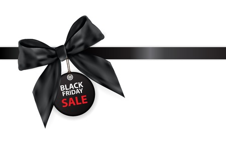 Black Friday Sale Label with Bow and Ribbon Isolated on White Background Vector Illustration
