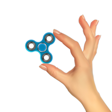 Realistic 3D image of hand with spinner. Illustration