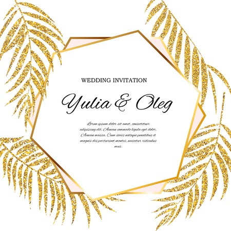 Beautifil Wedding Invitation with Palm Tree Leaf  Silhouette Vector Illustration Illustration