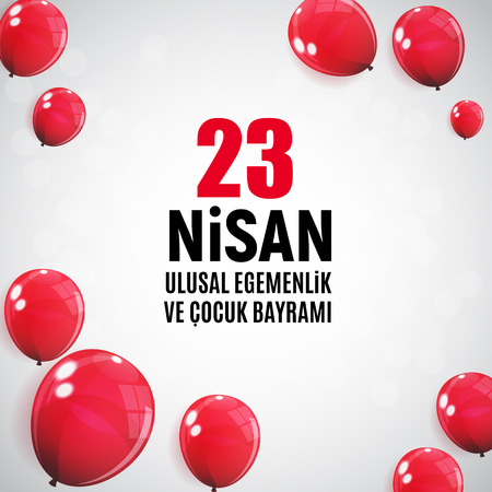 Red balloon design for National Sovereignty and Childrens day celebration. Vector Illustration Çizim