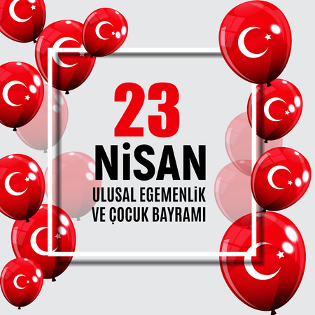 23 April Childrens day (Turkish Speak: 23 Nisan Cumhuriyet Bayrami). Vector Illustration