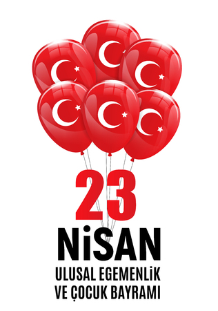 Red balloon design with turkish flag design for National Sovereignty and Childrens day celebration. Vector Illustration