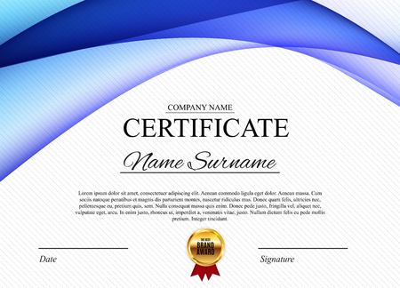 Certificate template Background. Award diploma design blank. Vector Illustration Banque d'images - 98353469