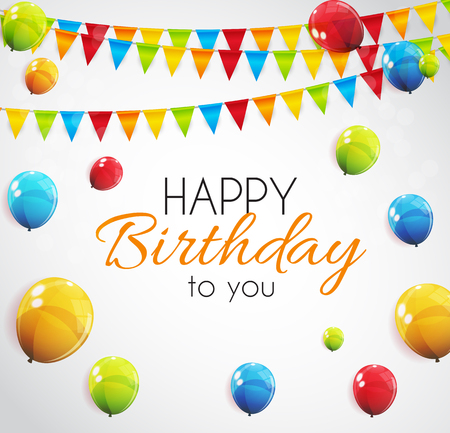 Color Glossy Happy Birthday Balloons Banner Background Vector Illustration Ilustrace