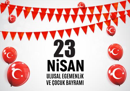 23 April Childrens day (Turkish Speak: 23 Nisan Cumhuriyet Bayrami). Vector Illustration Stok Fotoğraf - 98668859