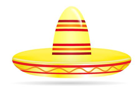 Naturalistic colorful sombrero on White Background. Vector Illustration