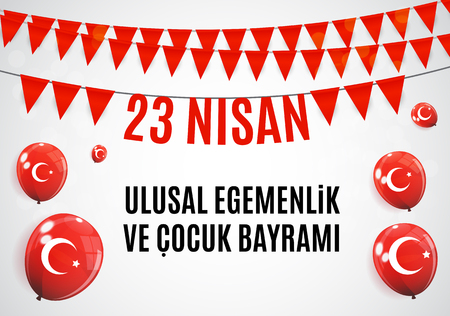 23 April Childrens day (Turkish Speak: 23 Nisan Cumhuriyet Bayrami). Vector Illustration. Çizim