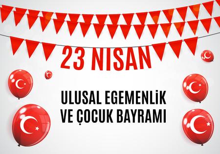 23 avril Journée des enfants (turc: 23 Nisan Cumhuriyet Bayrami). Illustration vectorielle.
