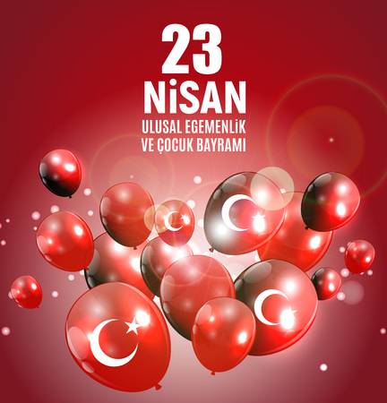 23 April Childrens day (Turkish Speak: 23 Nisan Cumhuriyet Bayrami). Vector Illustration with balloons on red EPS10