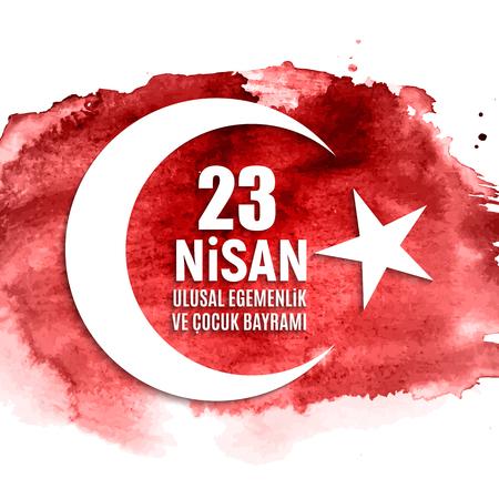 23 April Children's day (Turkish Speak: 23 Nisan Cumhuriyet Bayrami). Vector Illustration. Stok Fotoğraf - 98668996