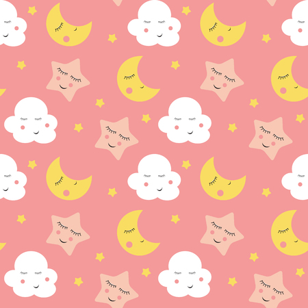 Cute Clouds, Star and Moons Seamless Pattern Background Vector Illustration EPS10