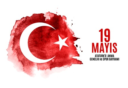 19 maja upamiętnienie Ataturka, dnia młodzieży i sportu (w języku tureckim: 19 mayis Ataturk'u anma, genclik ve spor bayrami). Tureckie wakacje kartkę z życzeniami. Ilustracja wektorowa eps10