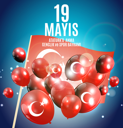 19th may commemoration of Ataturk, youth and sports day (Turkish Speak: 19 mayis Ataturku anma, genclik ve spor bayrami).  Turkish holiday greeting card. Vector Illustration EPS10 Ilustracja